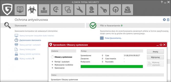 G DATA Total Security - skanowanie systemu