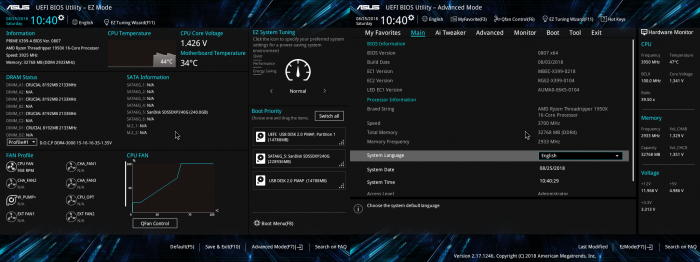 UEFI BIOS: po lewej interfejs uproszczony (EzMode), a po prawej zaawansowany (Advanced Mode). Na płytach Asusa zmienia się je przyciskiem [F7]