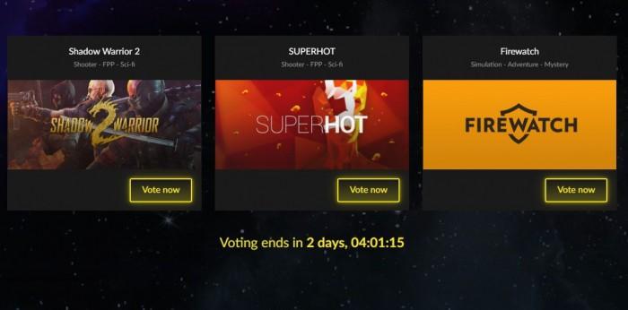 Głosowanie na darmową grę w GOG.com