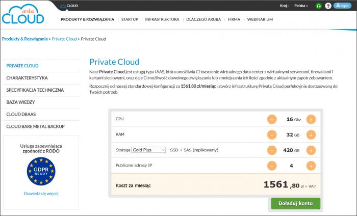Usługa Aruba Private Cloud pozwala w pełni odwzorować środowisko IT przedsiębiorstwa w prywatnej chmurze obliczeniowej. Usługa jest zgodna z RODO