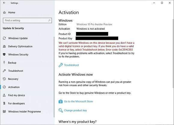 Komunikat o błędzie licencji dla Windows 10