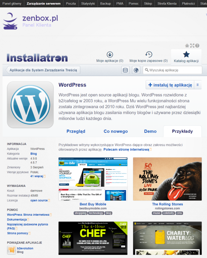 Autoinstalator wydatnie upraszcza wdrożenie aplikacji webowej na serwerze. W katalogu z aplikacjami na pewno znajdziesz WordPress. Na ilustracji ekran instalacji systemu Installatron w zenbox.pl