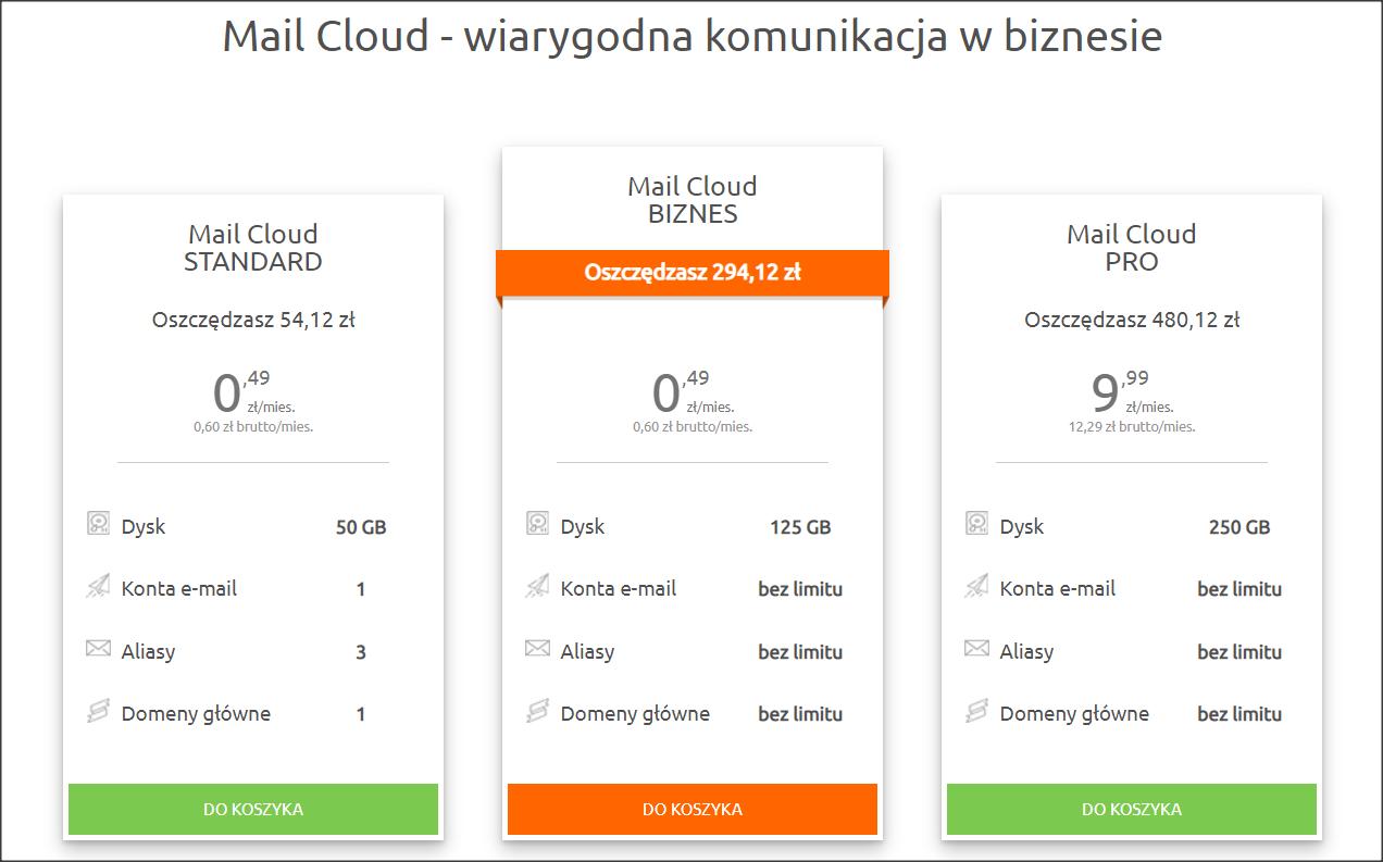 W nazwa.pl istnieje dedykowana oferta usług pocztowych Mail Cloud. Osoba prywatna może zamówić pojedyncze konto. Dla firm dostawca ten przygotował pakiety Biznes i Pro z dowolną liczbą skrzynek e-mail do limitu pojemności serwera