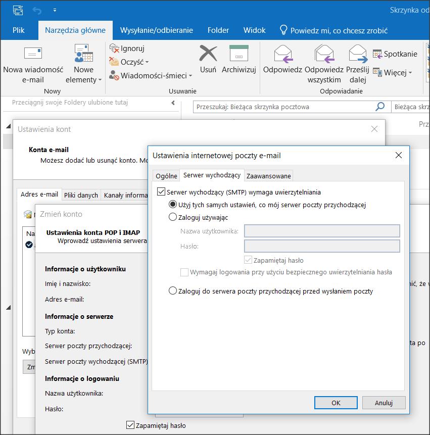 Włączenie autoryzacji SMTP w programie Outlook wymaga wejścia w ustawienia zaawansowane