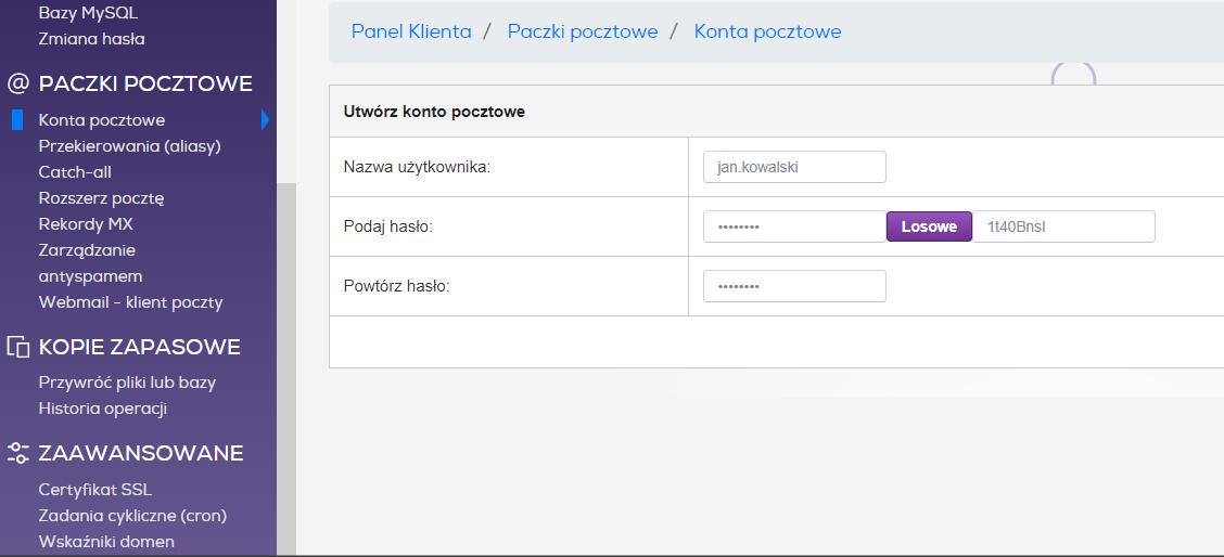 Zarządzanie pocztą w hostingu odbywa się z poziomu wygodnego panelu administratora. Na ilustracji dodawanie nowego konta w panelu zenbox.pl