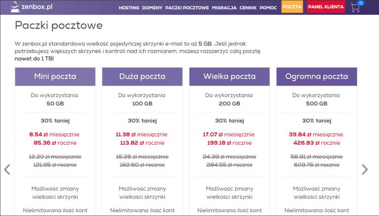 W zenbox.pl standardowa wielkość skrzynki e-mail to 5 GB. Bardziej wymagający użytkownicy mogą zamówić dodatkową przestrzeń na pocztę i podzielić ją między skrzynki wszystkich pracowników