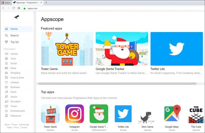 Serwis appsco.pe gromadzi informacje o najlepszych aplikacjach dostarczanych w technologii PWA