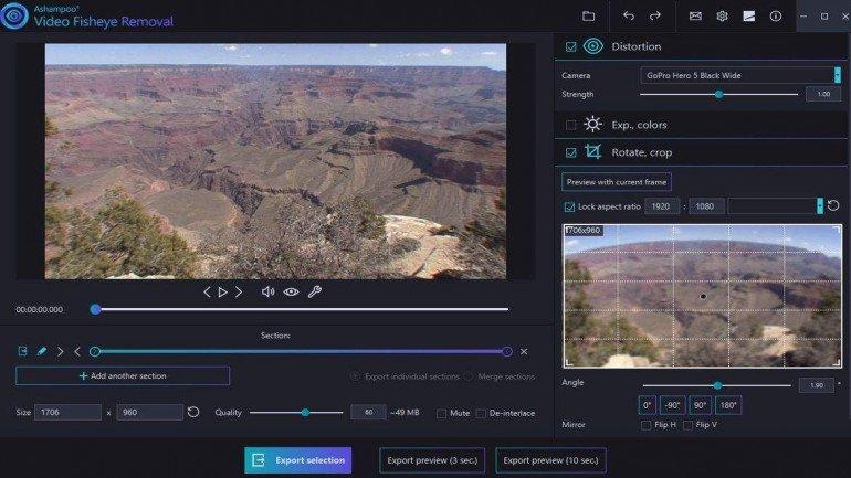 Ashampoo Video Fisheye Removal - darmowa aplikacja do poprawy nagrań wideo