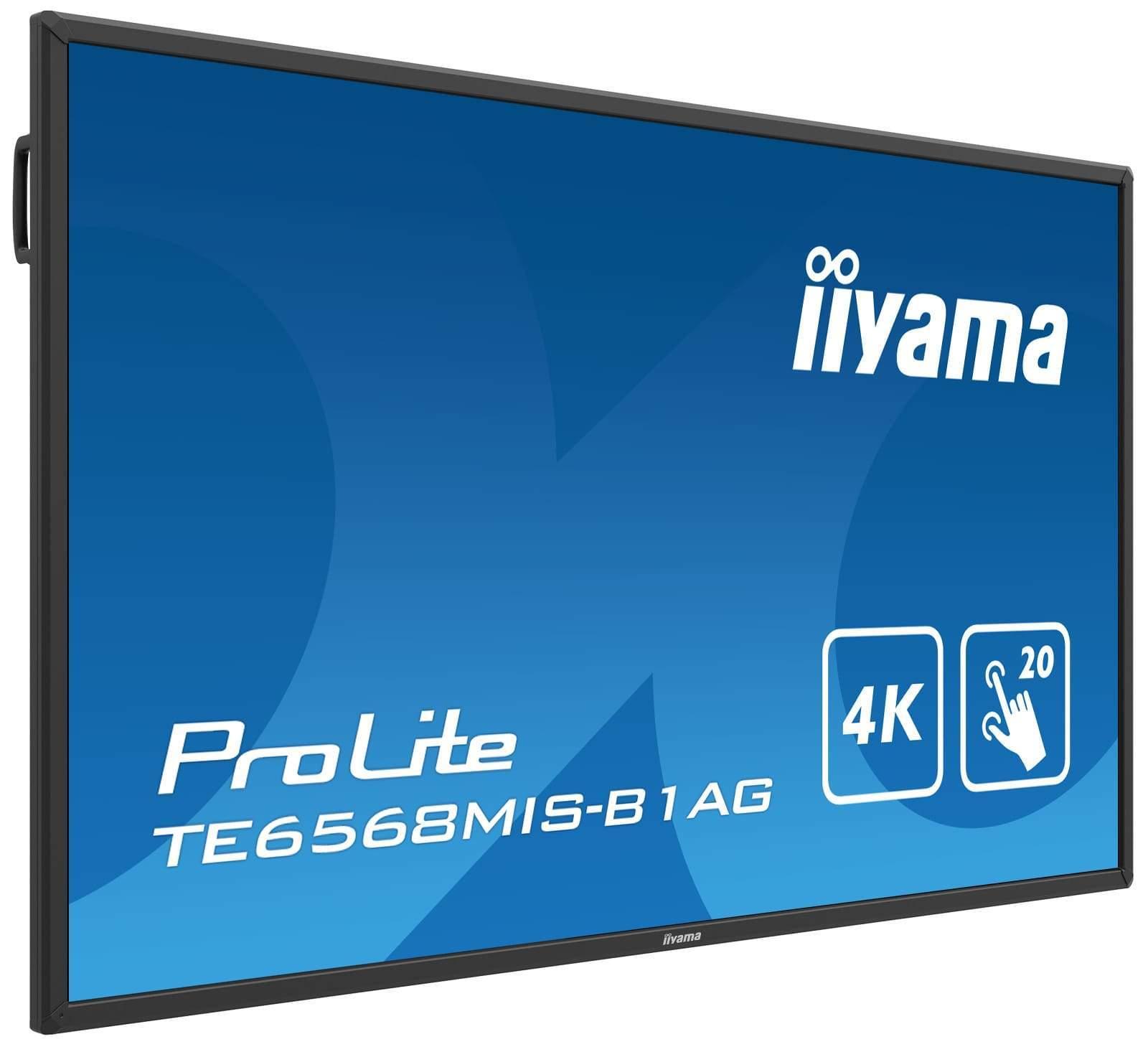 iiyama TE6568MIS-B1AG to proste urządzenie dotykowe o przekątnej 65-cali. Pomimo atrakcyjnej ceny, sprzęt pozwala na odtwarzanie prezentacji, plików wideo, zdjęć, slajdów i plików tekstowych bez konieczności podłączania do komputera.