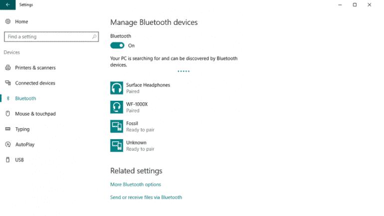 Opcje Bluetooth w Ustawieniach Windows 10