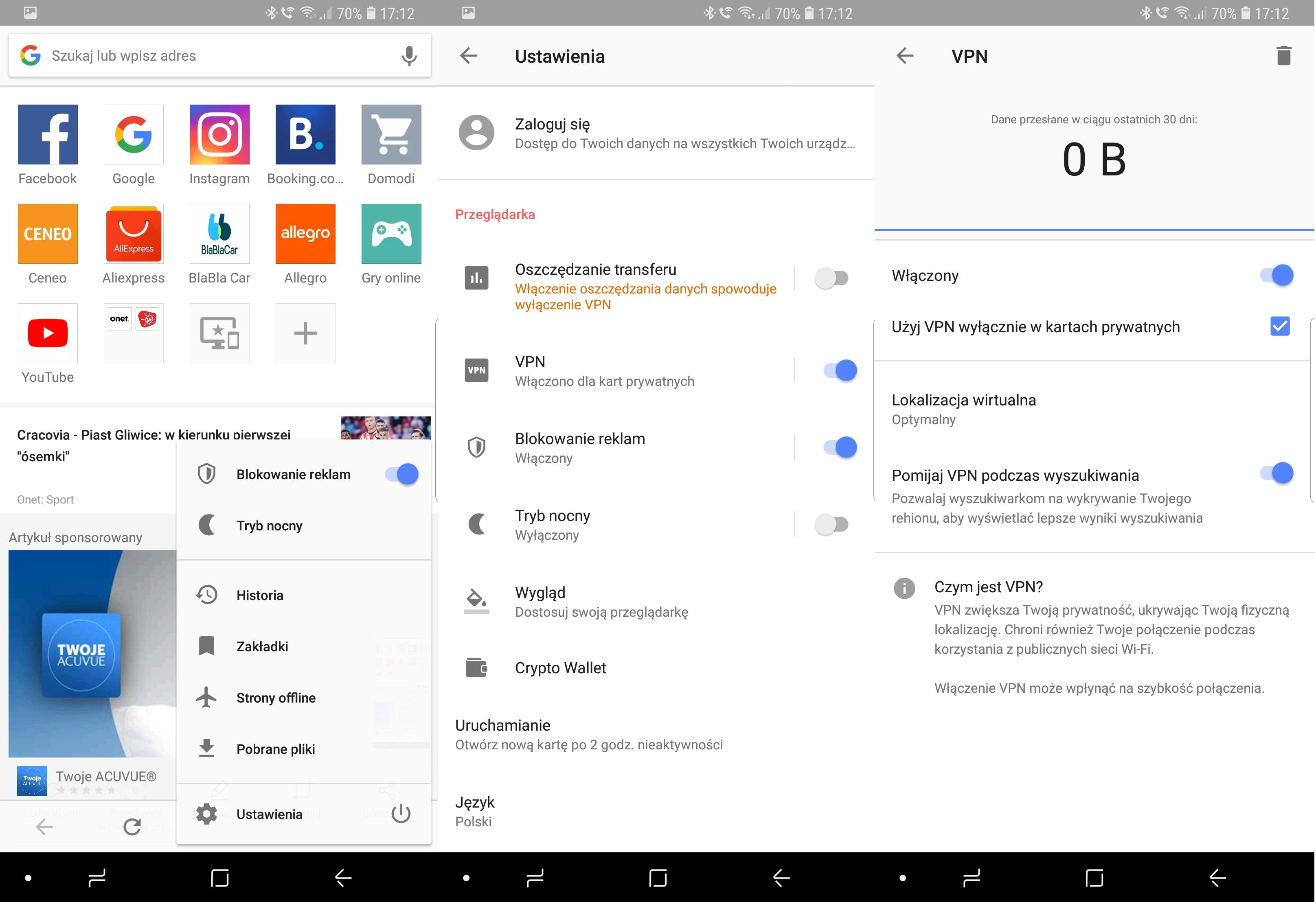 Instrukcja uruchomienia VPN w przeglądarce Opera na Androidzie.
