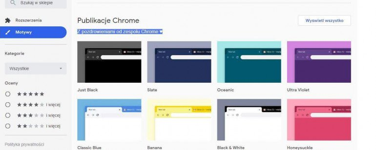 Nowe motywy dla Chrome
