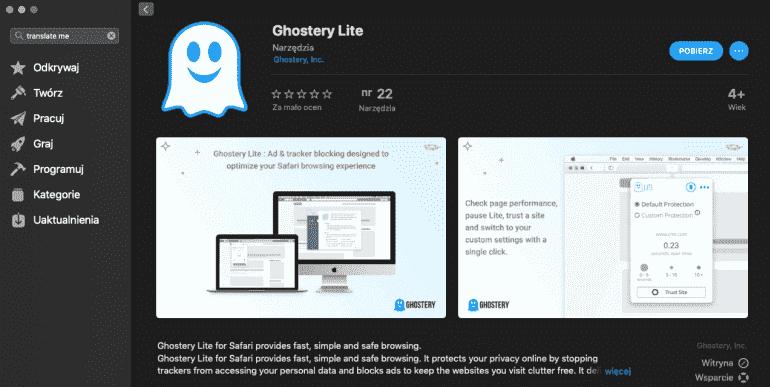 Ghostery Lite w Mac App Store