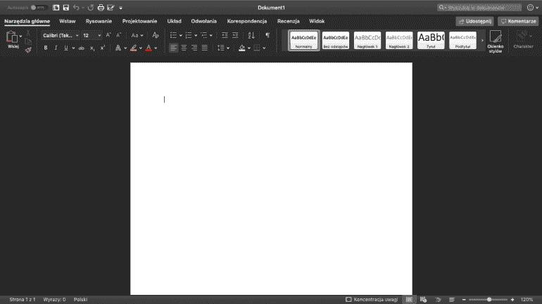 Microsoft Office 365 dla Mac'a z uruchomionym Dark Mode