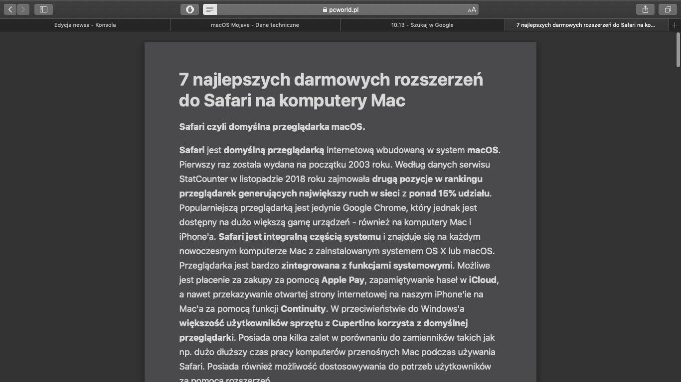 Tryb Reader w Safari 12 z Dark Mode