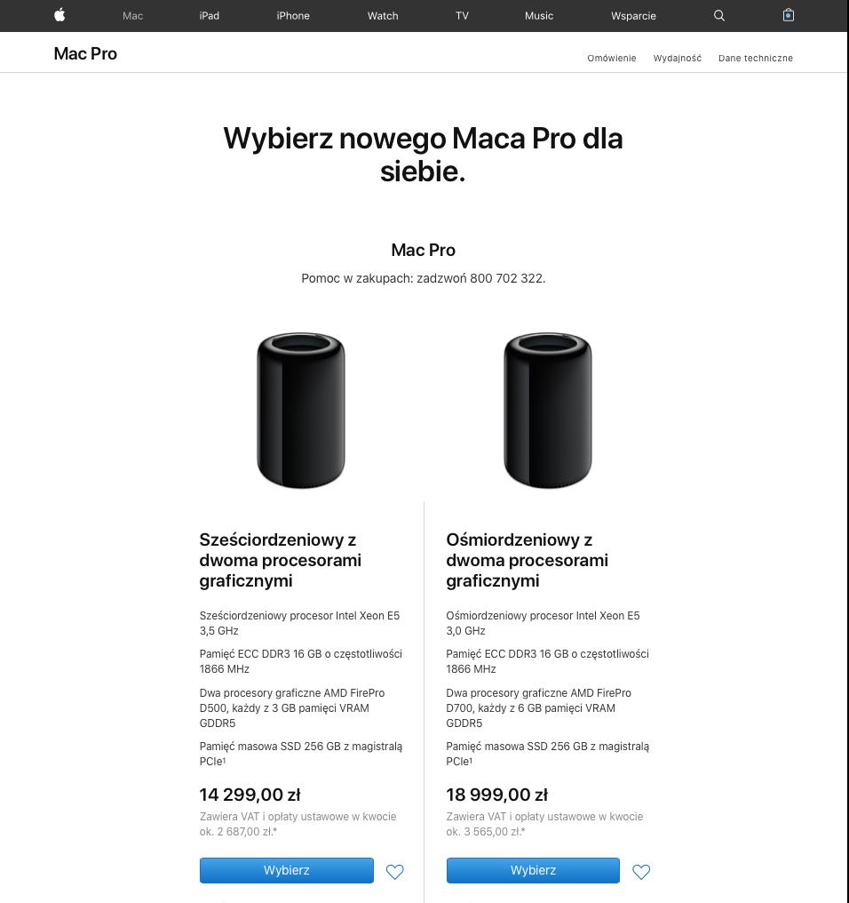 Ceny obecnej generacji Mac'a Pro w polskim Apple Online Store