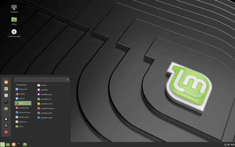 Środowisko graficzne Cinnamon w dystrybucji Linux Mint