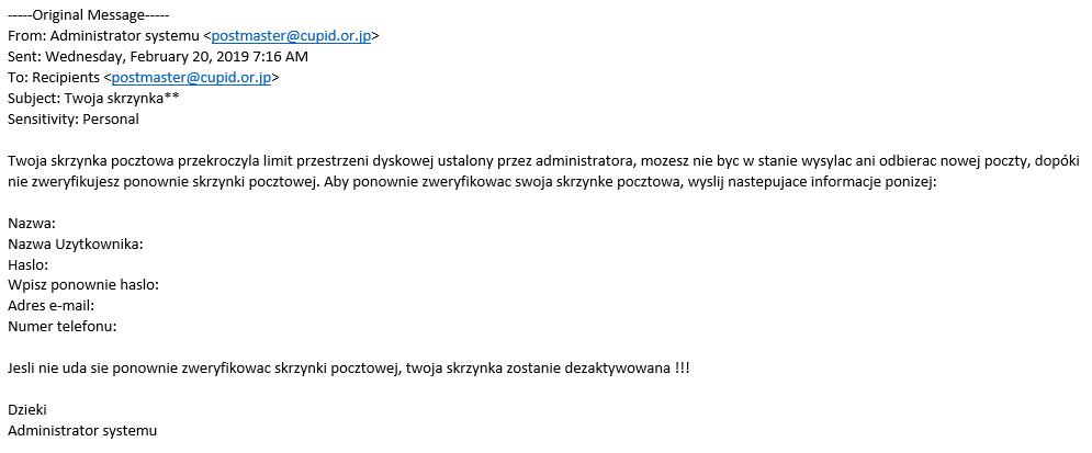 Treść phishingu