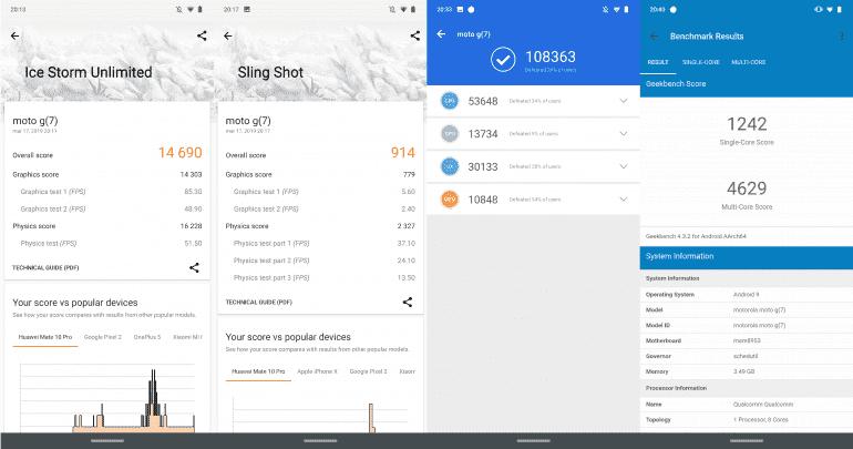 Zrzuty ekranu z najpopularniejszych aplikacji testujących wydajność urządzenia