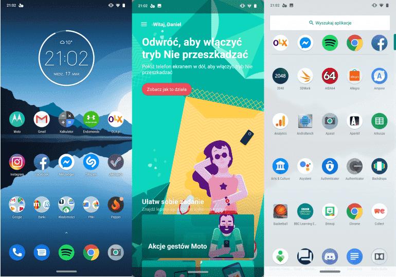 Interface Moto G7. Na środku widoczna aplikacja Moto odpowiadająca za dodatkowe funkcje, jak np. gesty uruchomienia aparatu i latarki