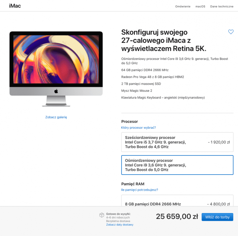 Apple aktualizuje komputery iMac o procesory Intel Core 8 i 9 generacji