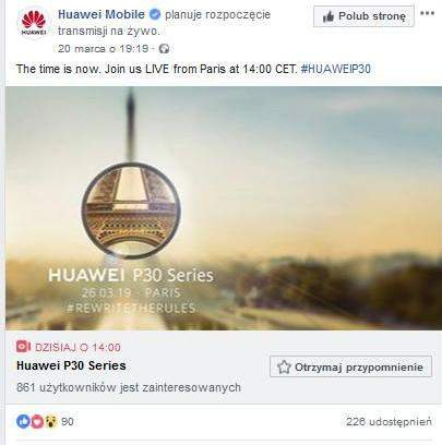 Huawei P30 - gdzie oglądać prezentację?