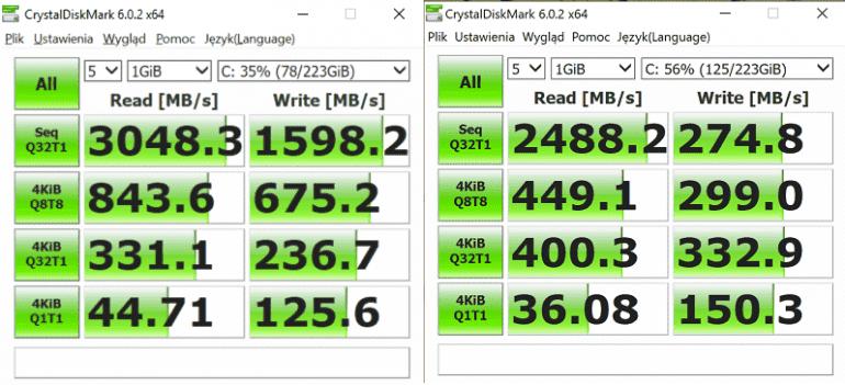 Dysk SSD w Matebook 13 (z lewej strony) oraz w Matebook X Pro (z prawej strony)