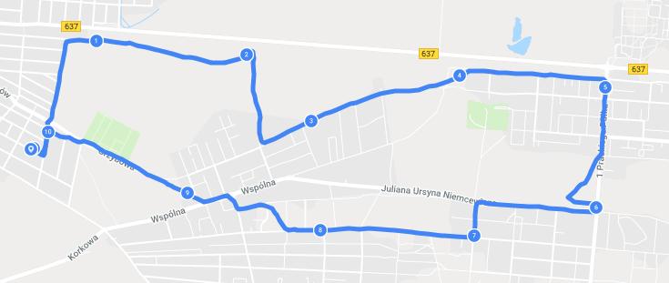 Rzeczywisty przebieg trasy zarejestrowany przez Samsung Gear Sport