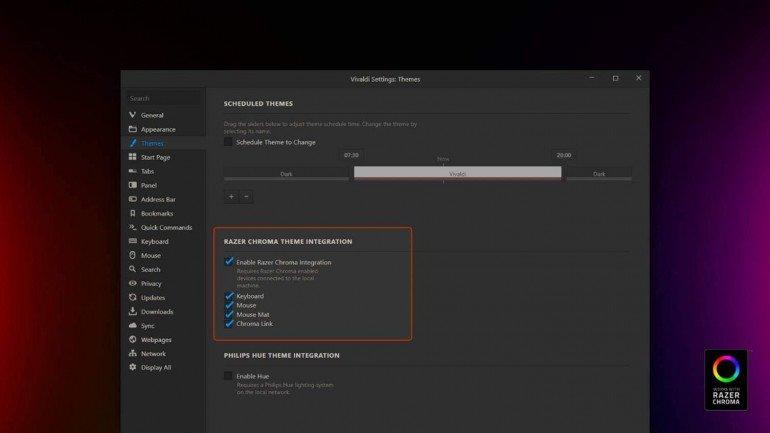 Przeglądarka Vivaldi integruje się z podświetleniem Razer Chroma