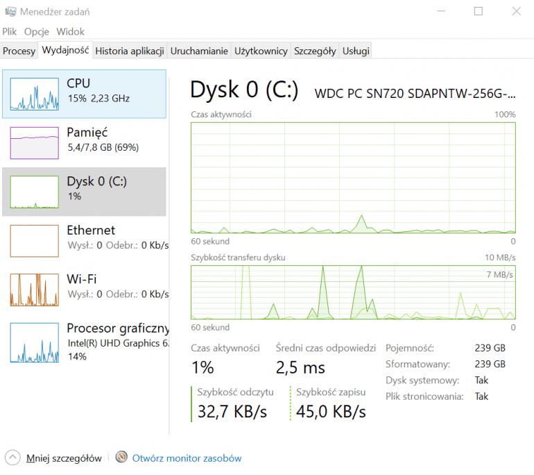 Zrzut ekranu w Windows 10 Home 1809  Komputer posiada dysk SSD o pojemności 256 GB podłączony przy pomocy NVMe