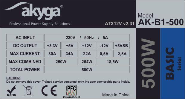 500 W za 50 zł? Zasilacz Akyga to przykład budżetowego sprzętu. Sprzęt jest sprzedawany bez certyfikatów sprawności, a na linii +12V oferuje ledwie połowę mocy nominalnej.