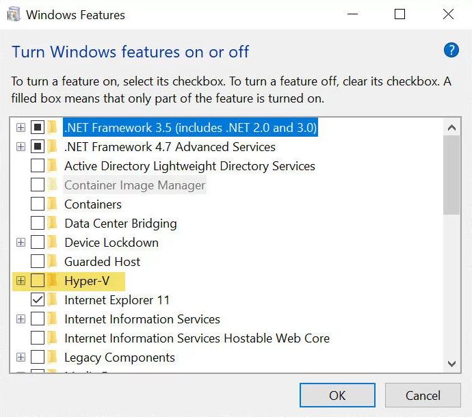 Źródło: techadvisor  Włącz lub wyłącz funkcje systemu Windows w Windows 10 Pro