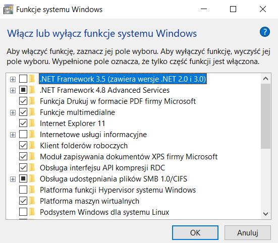 Włącz lub wyłącz funkcje systemu Windows w Windows 10 Home - brak opcji Hyper-V