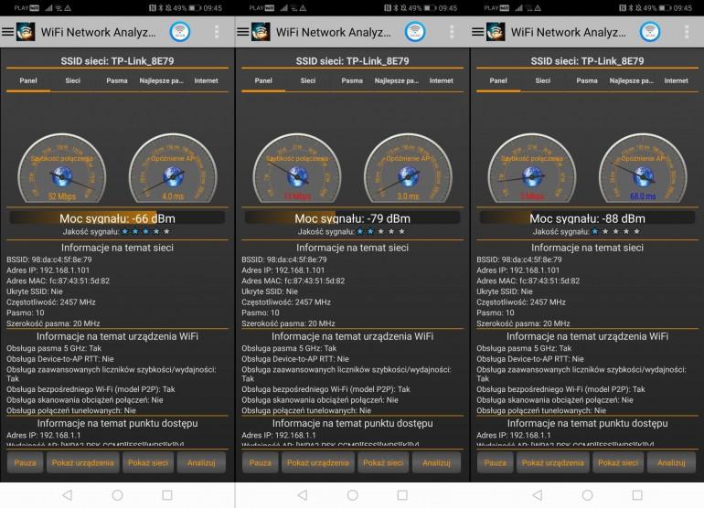Sieć 2,4 GHz 15 m, 20 m, 25 m