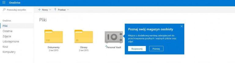 Microsoft udostępnia Personal Vault dla każdego użytkownika OneDrive