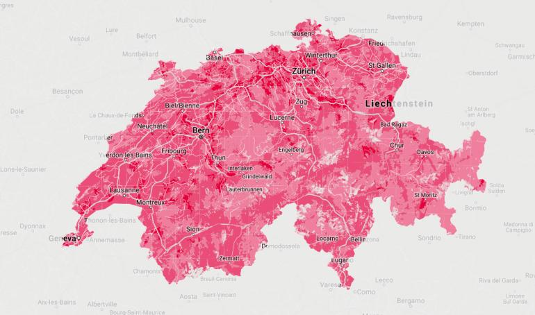 Planowanie pokrycie Szwajcarii przez 5G. Źródło: Sunrise.