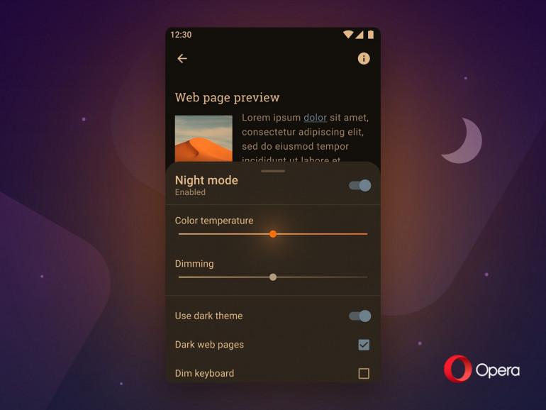 Opera dla Androida otrzymuje nowy tryb nocny i funkcję przyciemniania stron