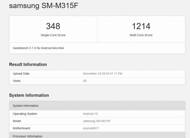 Samsung Galaxy M31 z wynikami testów Geekbench