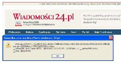 Możliwe jest przejęcie ciasteczek internauty odwiedzającego serwis wiadomosci24.pl. Takie dane mogą posłużyć do nieuprawnionego korzystania z cudzego konta.