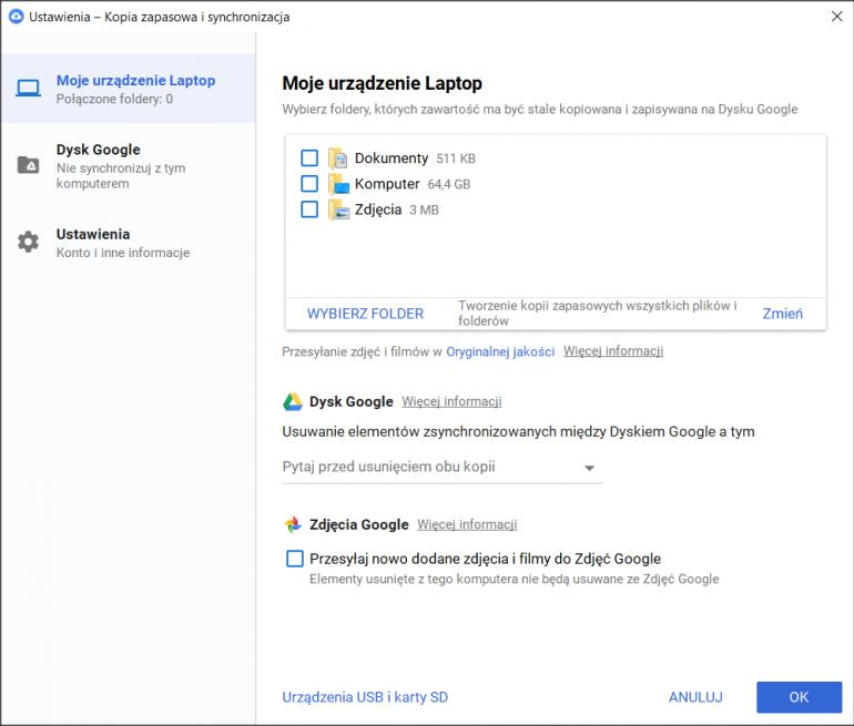 W ustawieniach kopii zapasowej i synchronizacji Dysku Google ustalimy, które foldery mają być kopiowane i zapisywane w chmurze.
