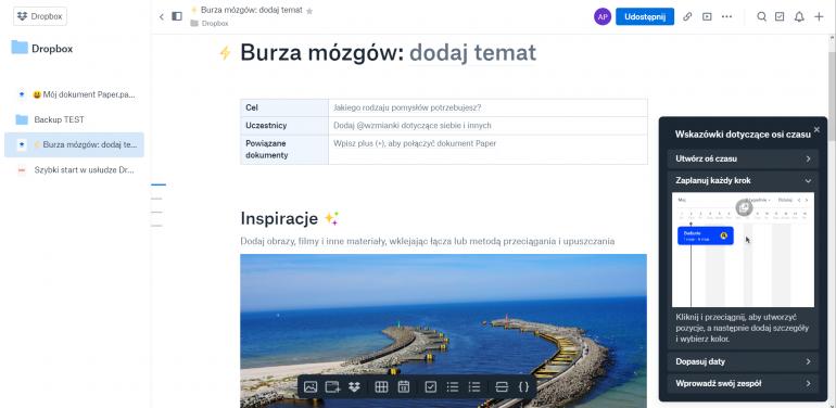 Dropbox Paper to intuicyjne narzędzie do zapisywania pomysłów i współpracy w zespole.
