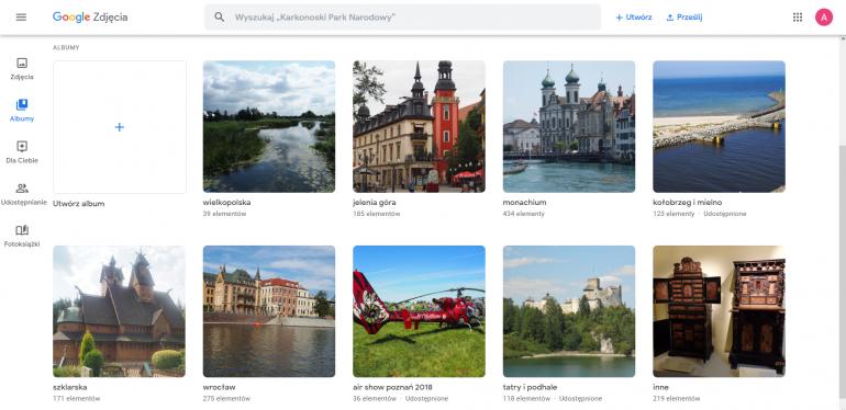 Google Zdjęcia umożliwia organizowanie multimediów w albumach.