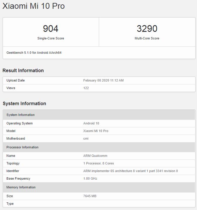 Xiaomi Mi 10 Pro - wersja z 8GB RAM w Geekbench