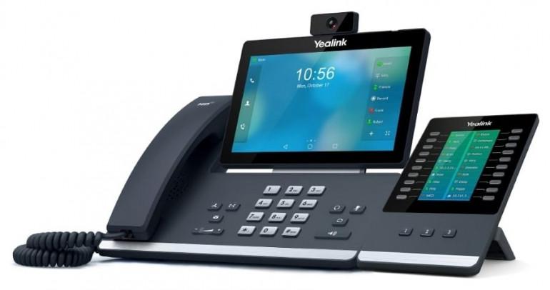 Yealink T58V to zaawansowany wideotelefon oparty na Androidzie z 7-calowym, dotykowym ekranem i wymienną kamerą USB. Źródło grafiki: yealink.pl.