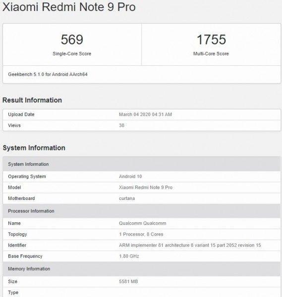Redmi Note 9 pojawia się w wynikach Geekbench