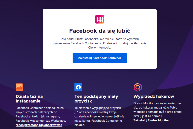 Mozilla Firefox 74, czyli Facebook da się lubić!