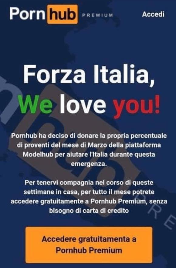 Pornhub daje Włochom na pocieszenie darmowy miesiąc Premium Access