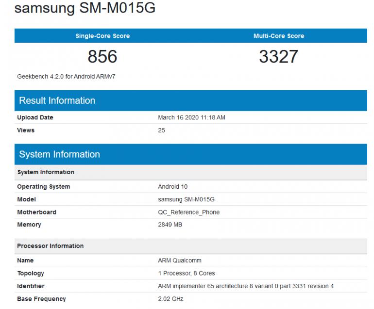 Galaxy M01 - tajemniczy smartfon Samsunga w wynikach testów Geekbench