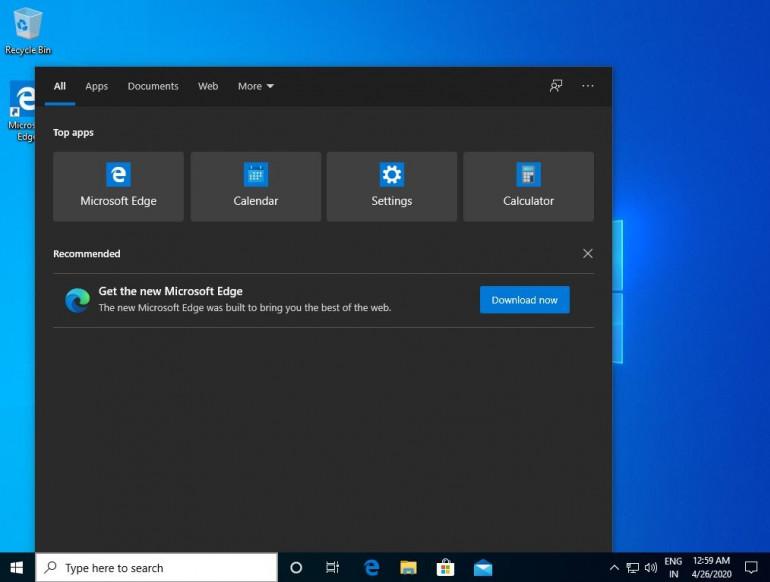 Windows 10: wyszukiwarka zaczyna reklamować Edge