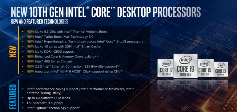 Procesory Intel Core Comet Lake S 10 generacji dla desktopów oficjalnie!